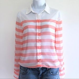 Honey Punch Striped Button Up Shirt Sheer Pink S